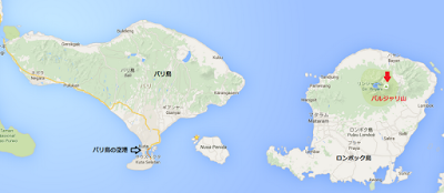 ロンボク島のバルジャリ山地図