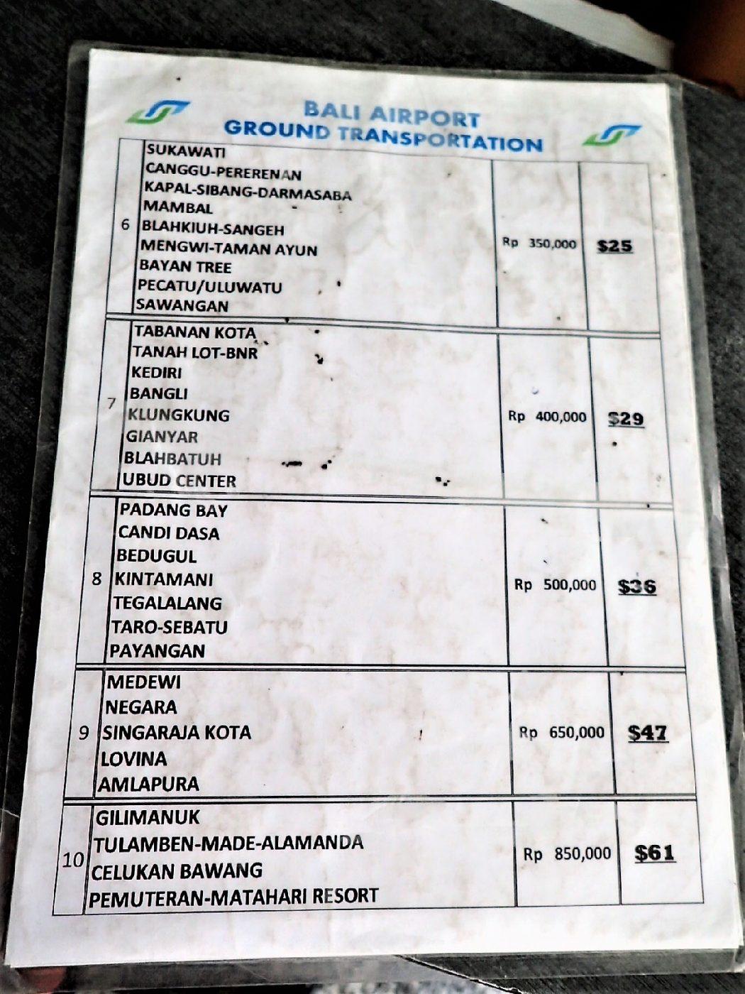 【2019年版】バリ島空港タクシーの基本情報と料金表
