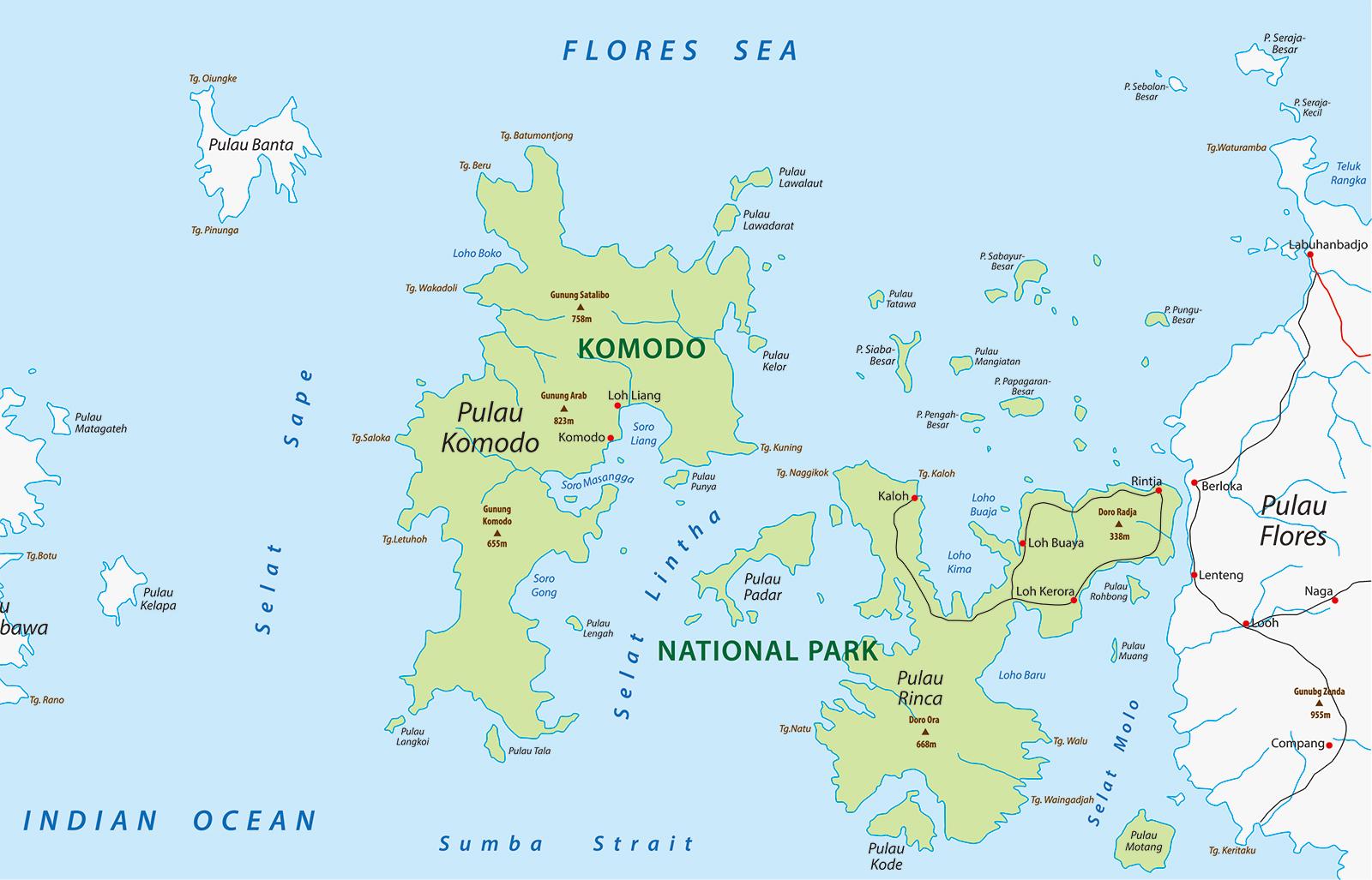 コモド国立公園の地図