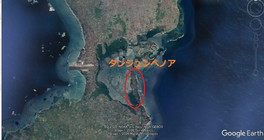 バリ島タンジュンベノアの場所