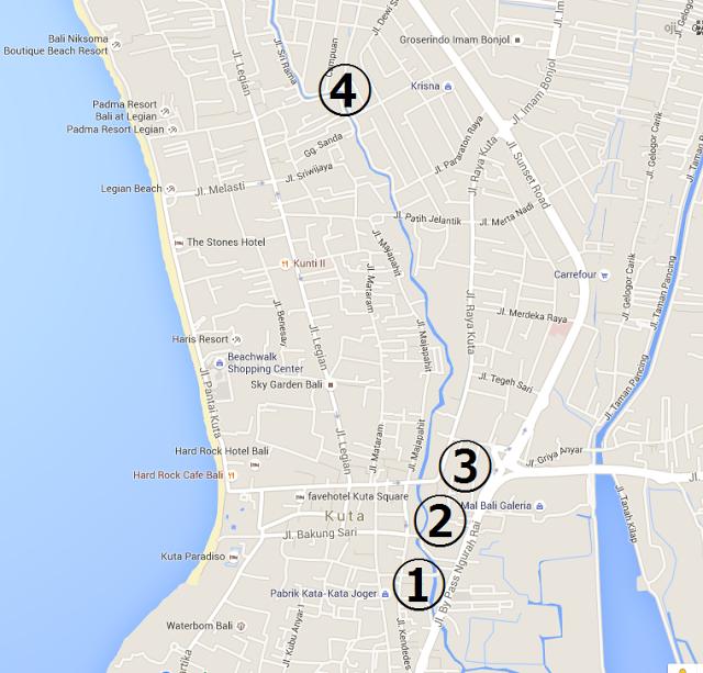 バリ島のお土産、クタ周辺サーフブランドの激安アウトレットマップ